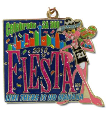 2018 Fiesta Like Theres No Manana Spurs Pink Panther Custom Fiesta Medal by MTSAWARDS.com and FiestaMedalssa.com