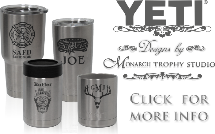 Yeti Rambler Tumbler, Colster & Lowball Engraving and Designs by Monarch Trophy Studio San Antonio