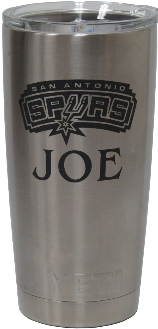20oz Spurs Logo Yeti Rambler Tumbler Laser Engraving designed by Monarch Trophy Studio San Antonio