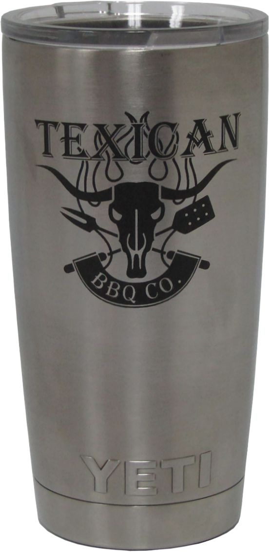 20oz Texican BBQ Yeti Rambler Tumbler Laser Engraving design by Monarch Trophy Studio San Antonio
