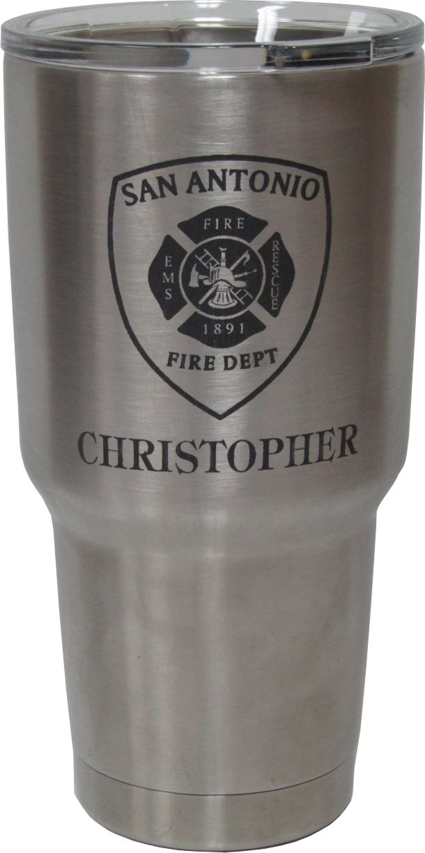 30oz Emergency Medical Services Yeti Rambler Tumbler Laser Engraving designed by Monarch Trophy Studio San Antonio