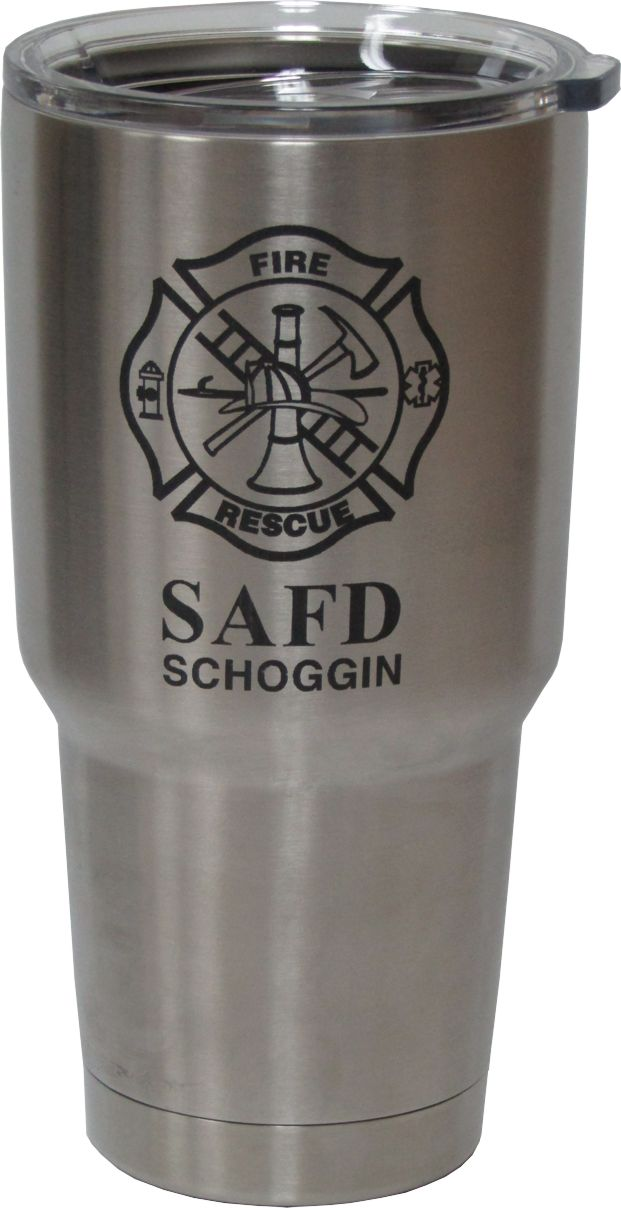 30oz Fire Department Yeti Rambler Tumbler Laser Engraving designed by Monarch Trophy Studio San Antonio