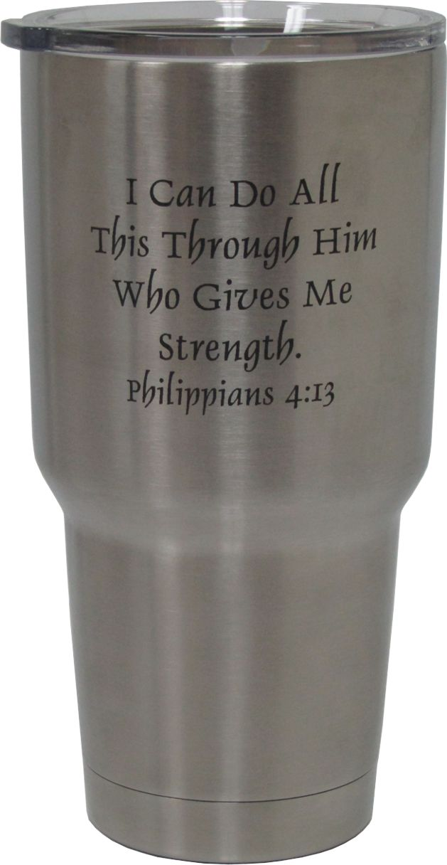 30oz Philippians Bible Verse Yeti Rambler Tumbler Laser Engraving designed by Monarch Trophy Studio San Antonio