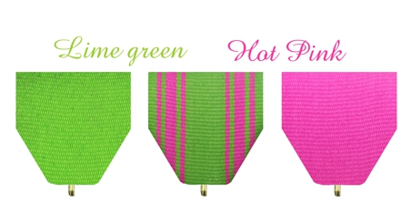 Fiesta Medals Lime Green and Hot Pink Drapes Available at Monarch Trophy Studio San Antonio